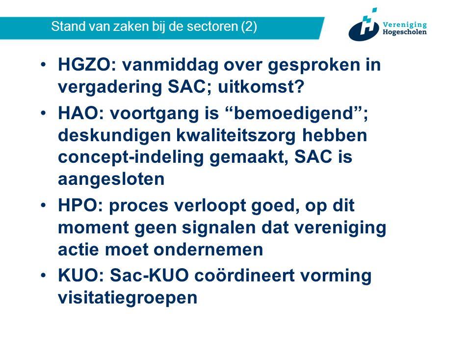 Stand van zaken bij de sectoren (2) HGZO: vanmiddag over gesproken in vergadering SAC; uitkomst.
