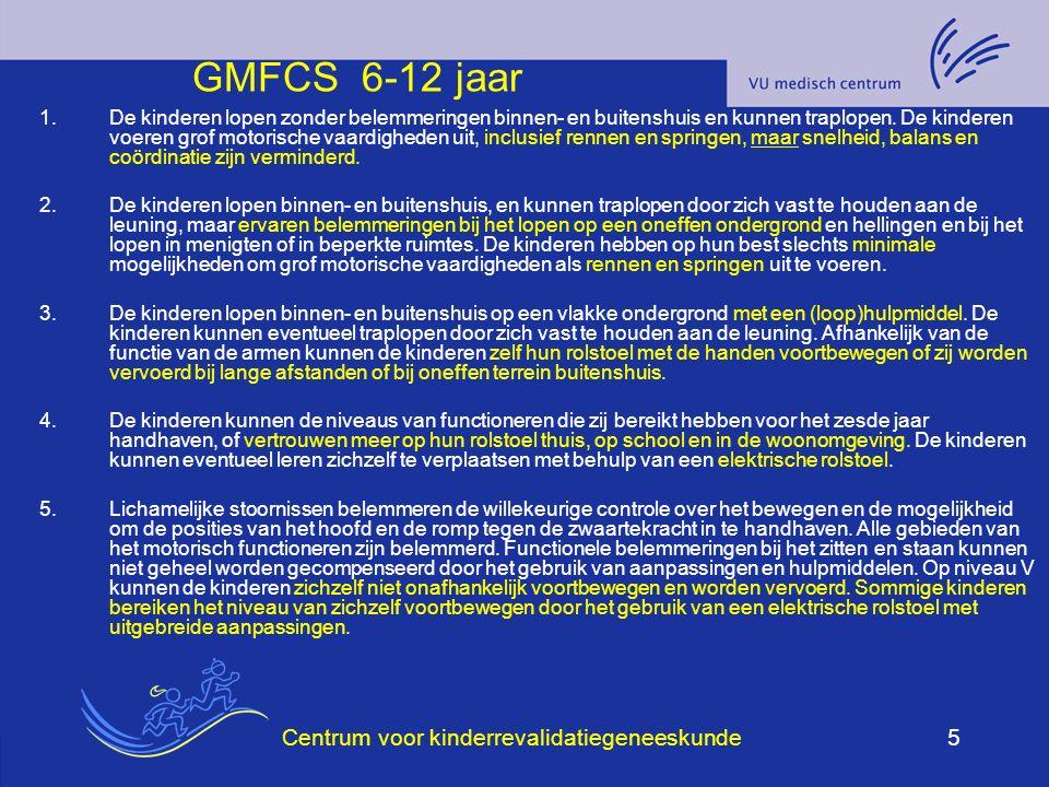 Centrum voor kinderrevalidatiegeneeskunde6 GMFCS groeicurves