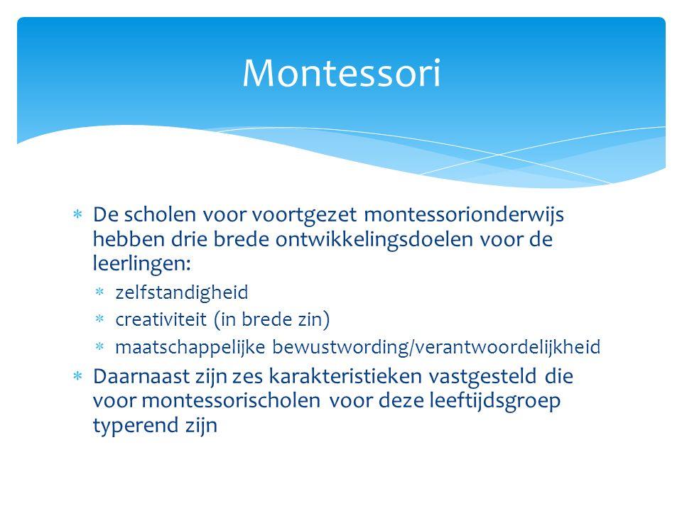  Montessorionderwijs is niet alleen gericht op de cognitieve ontwikkeling van de leerling, maar ook op de sociale, emotionele, creatieve en morele ontwikkeling.