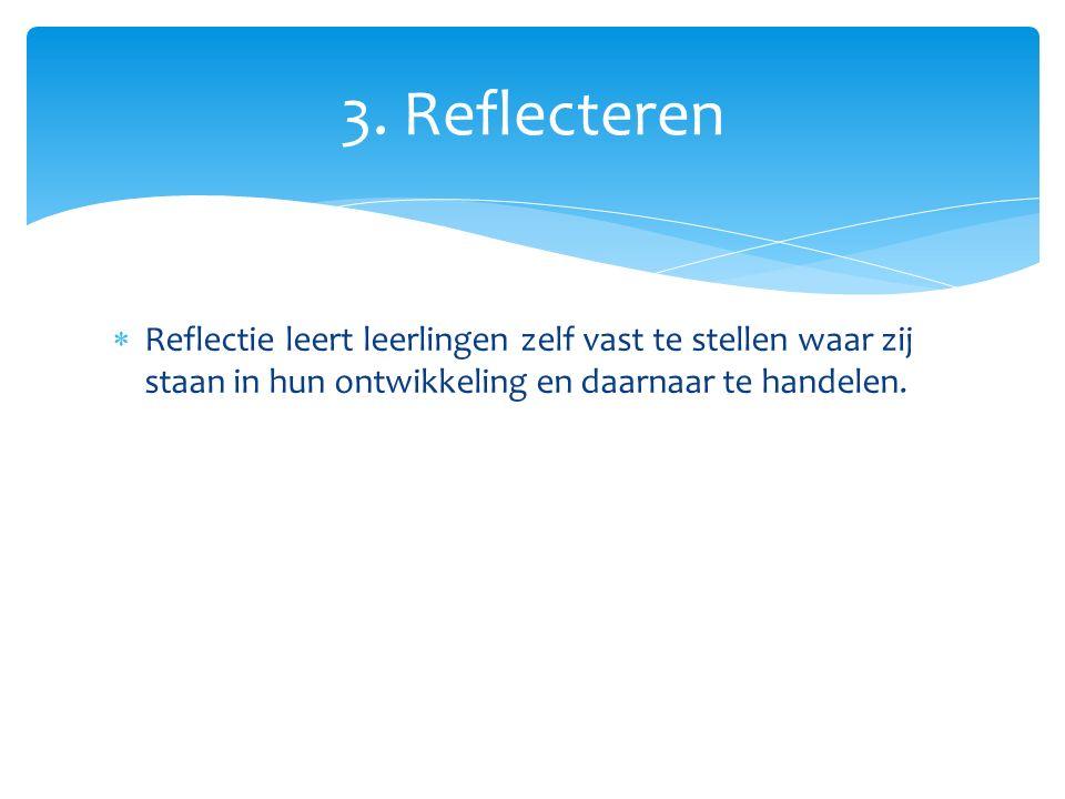 Reflectie leert leerlingen zelf vast te stellen waar zij staan in hun ontwikkeling en daarnaar te handelen. 3. Reflecteren
