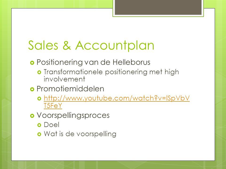 Sales & Accountplan  Positionering van de Helleborus  Transformationele positionering met high involvement  Promotiemiddelen  http://www.youtube.com/watch?v=lSpVbV T5FeY http://www.youtube.com/watch?v=lSpVbV T5FeY  Voorspellingsproces  Doel  Wat is de voorspelling