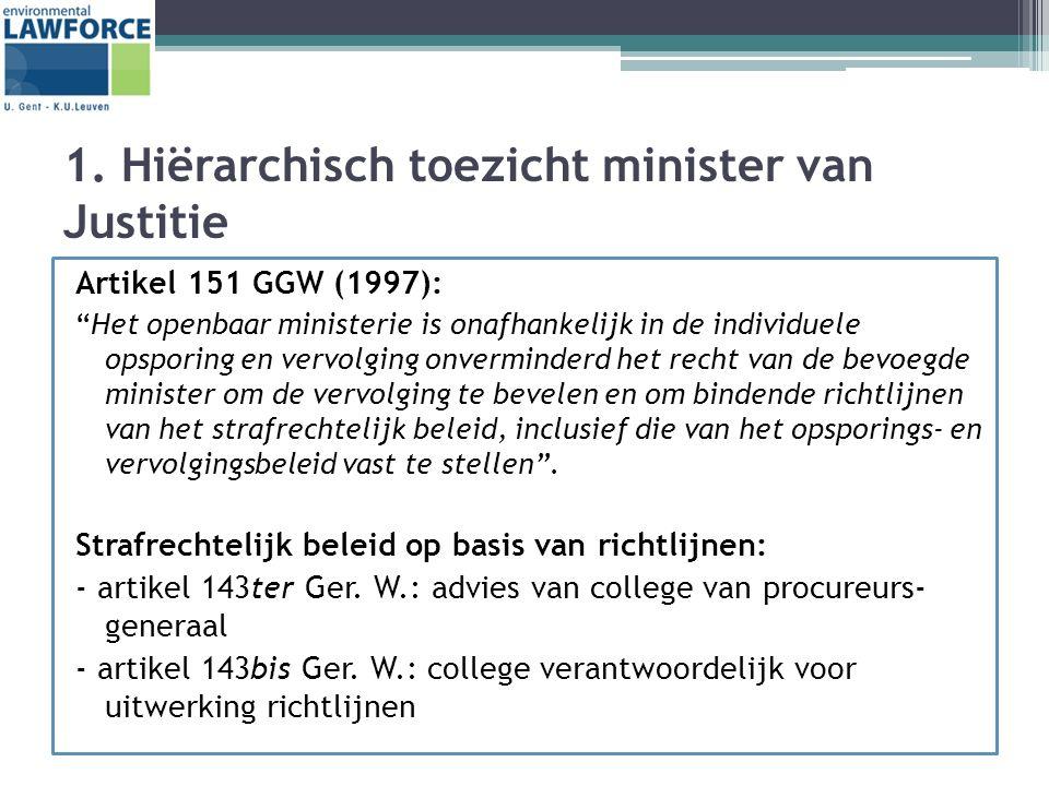 """1. Hiërarchisch toezicht minister van Justitie Artikel 151 GGW (1997): """"Het openbaar ministerie is onafhankelijk in de individuele opsporing en vervol"""