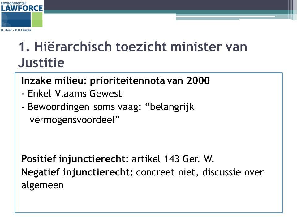 """1. Hiërarchisch toezicht minister van Justitie Inzake milieu: prioriteitennota van 2000 - Enkel Vlaams Gewest - Bewoordingen soms vaag: """"belangrijk ve"""