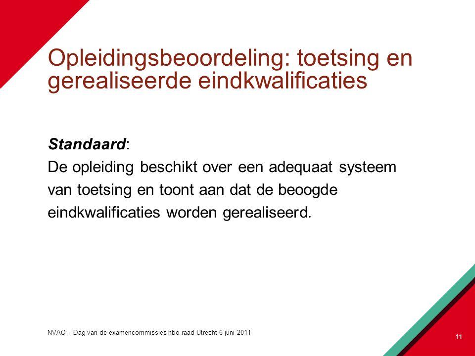 Opleidingsbeoordeling: toetsing en gerealiseerde eindkwalificaties Standaard: De opleiding beschikt over een adequaat systeem van toetsing en toont aan dat de beoogde eindkwalificaties worden gerealiseerd.