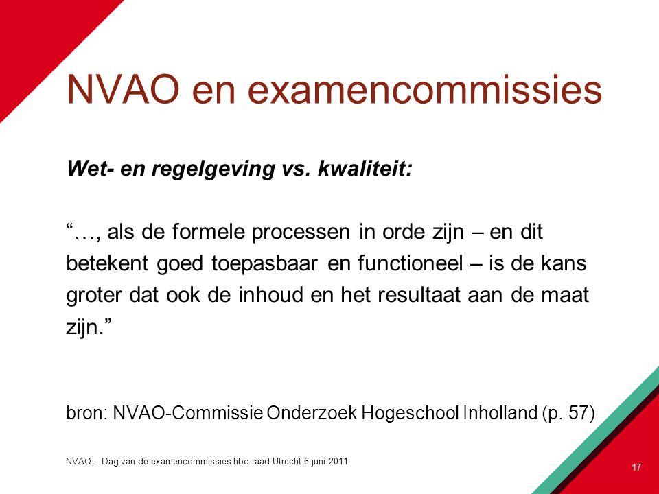 """NVAO en examencommissies Wet- en regelgeving vs. kwaliteit: """"…, als de formele processen in orde zijn – en dit betekent goed toepasbaar en functioneel"""