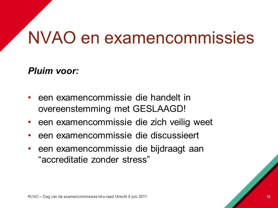 NVAO en examencommissies NVAO – Dag van de examencommissies hbo-raad Utrecht 6 juni 2011 18 Pluim voor: een examencommissie die handelt in overeenstemming met GESLAAGD.