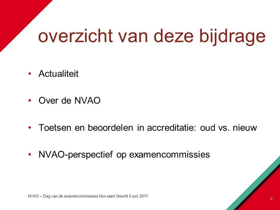 overzicht van deze bijdrage Actualiteit Over de NVAO Toetsen en beoordelen in accreditatie: oud vs.