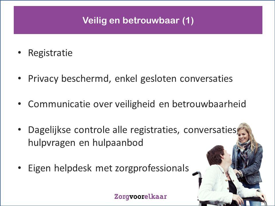 Registratie Privacy beschermd, enkel gesloten conversaties Communicatie over veiligheid en betrouwbaarheid Dagelijkse controle alle registraties, conversaties, hulpvragen en hulpaanbod Eigen helpdesk met zorgprofessionals Veilig en betrouwbaar (1)