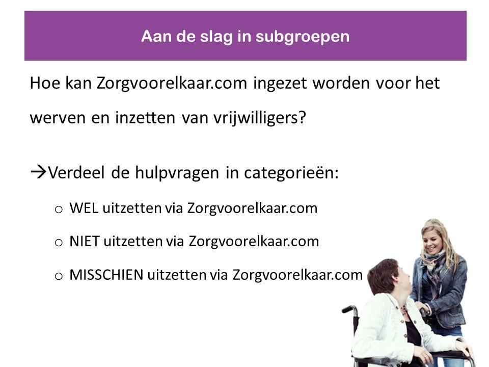 Aan de slag in subgroepen Hoe kan Zorgvoorelkaar.com ingezet worden voor het werven en inzetten van vrijwilligers.