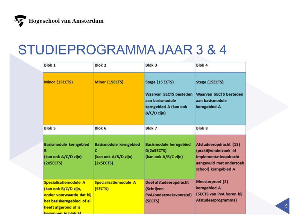 STUDIEPROGRAMMA JAAR 3 & 4 9