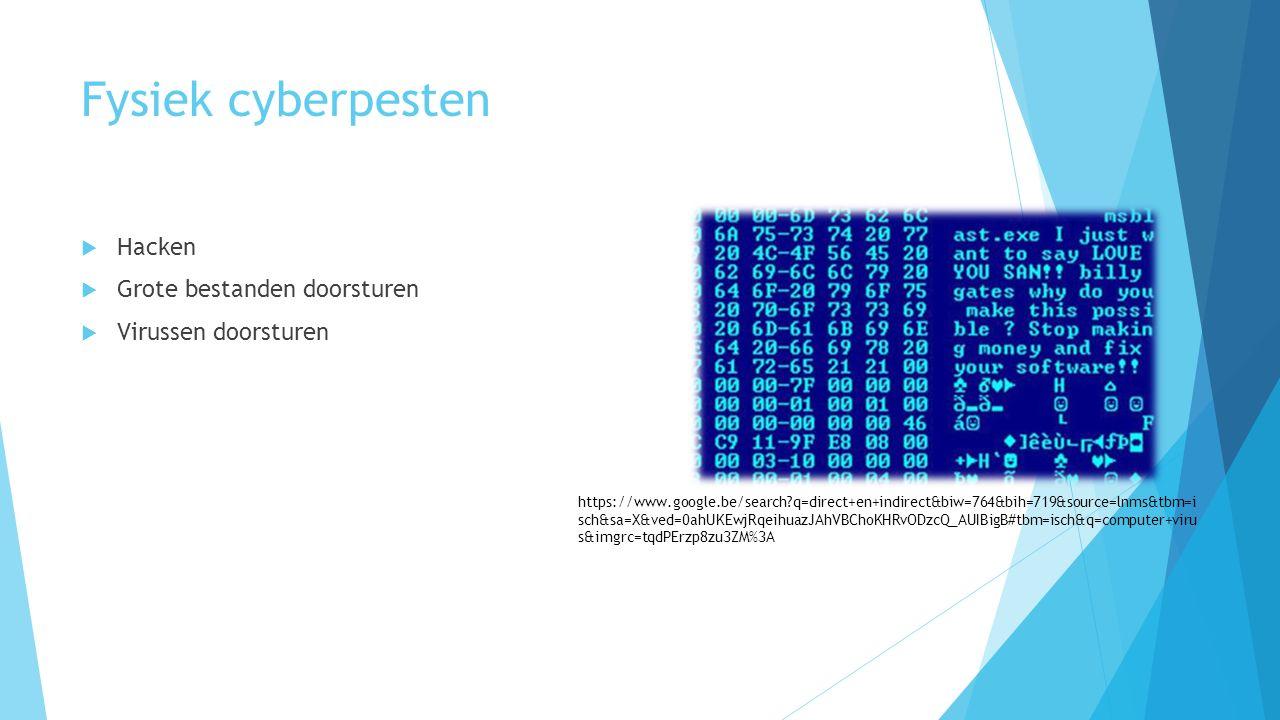 Fysiek cyberpesten  Hacken  Grote bestanden doorsturen  Virussen doorsturen https://www.google.be/search q=direct+en+indirect&biw=764&bih=719&source=lnms&tbm=i sch&sa=X&ved=0ahUKEwjRqeihuazJAhVBChoKHRvODzcQ_AUIBigB#tbm=isch&q=computer+viru s&imgrc=tqdPErzp8zu3ZM%3A