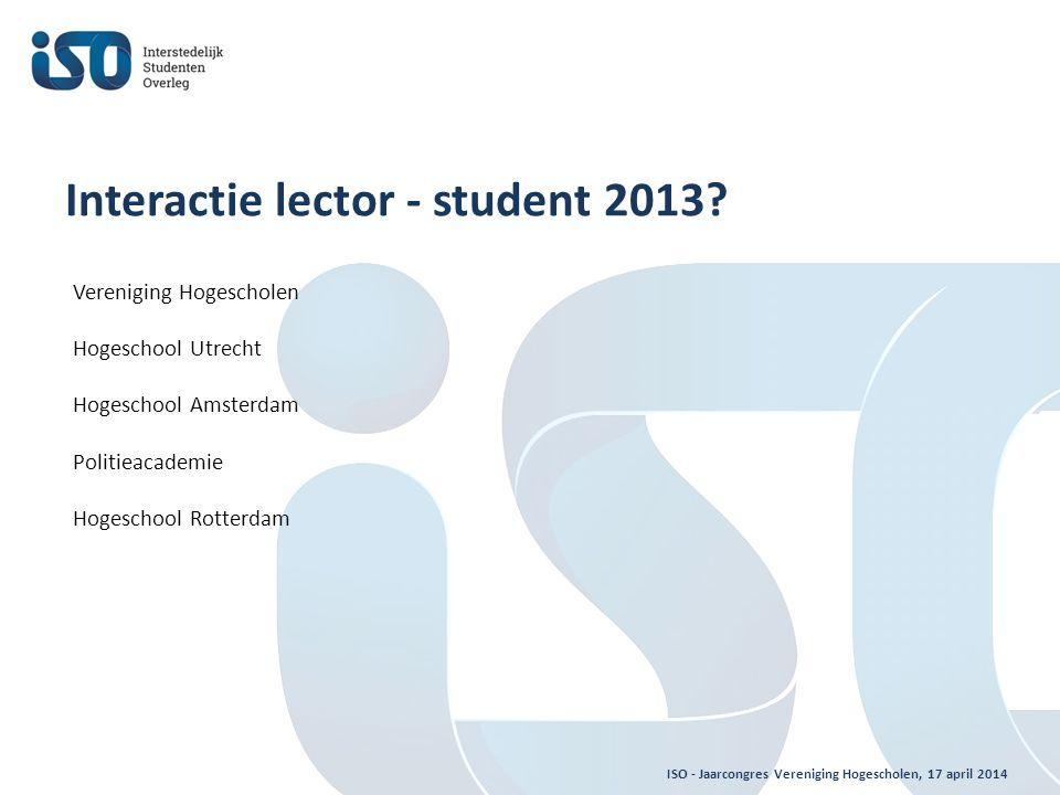ISO - Jaarcongres Vereniging Hogescholen, 17 april 2014 Interactie lector - student 2013.
