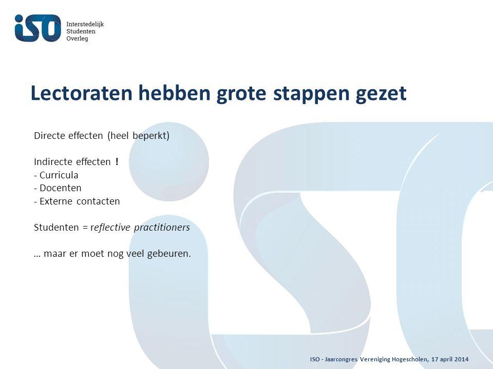 ISO - Jaarcongres Vereniging Hogescholen, 17 april 2014 Lectoraten hebben grote stappen gezet Directe effecten (heel beperkt) Indirecte effecten .