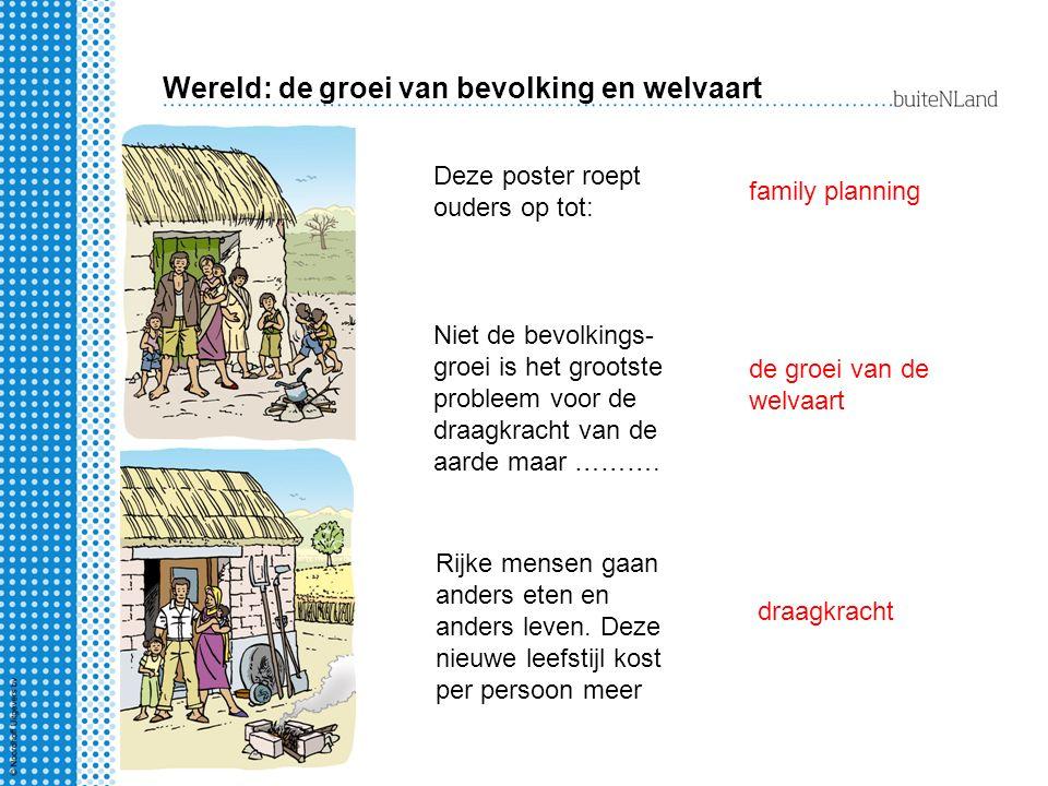 Wereld: de groei van bevolking en welvaart Deze poster roept ouders op tot: family planning Niet de bevolkings- groei is het grootste probleem voor de