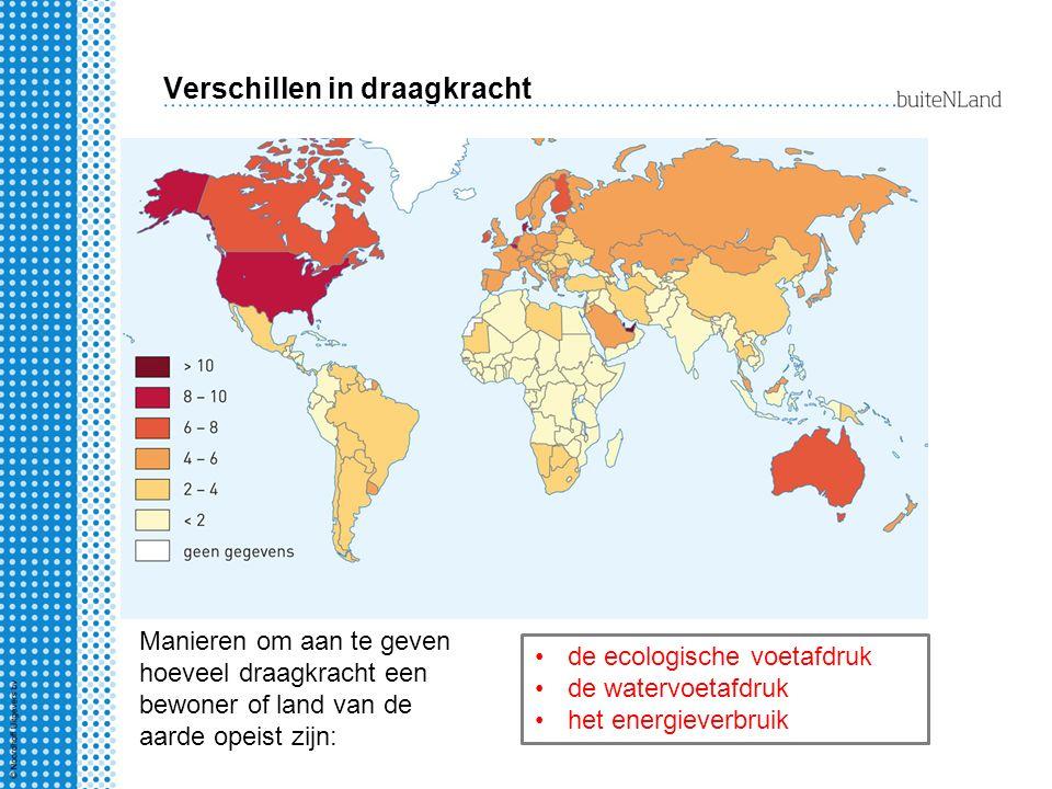 Verschillen in draagkracht Manieren om aan te geven hoeveel draagkracht een bewoner of land van de aarde opeist zijn: de ecologische voetafdruk de wat