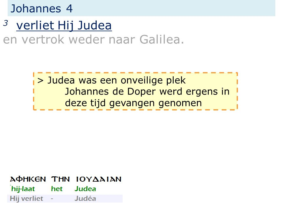 Johannes 4 3 verliet Hij Judea en vertrok weder naar Galilea.