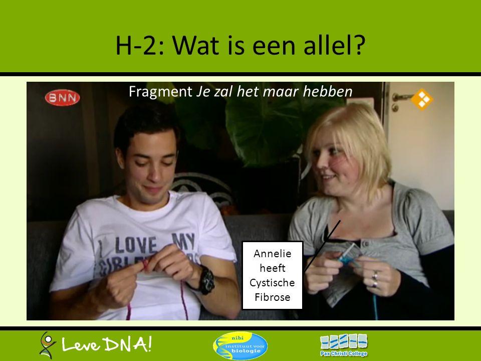 H-2: Wat is een allel? Fragment Je zal het maar hebben Annelie heeft Cystische Fibrose