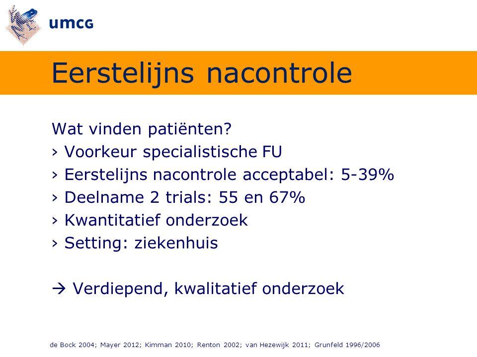 Wat vinden patiënten? ›Voorkeur specialistische FU ›Eerstelijns nacontrole acceptabel: 5-39% ›Deelname 2 trials: 55 en 67% ›Kwantitatief onderzoek ›Se