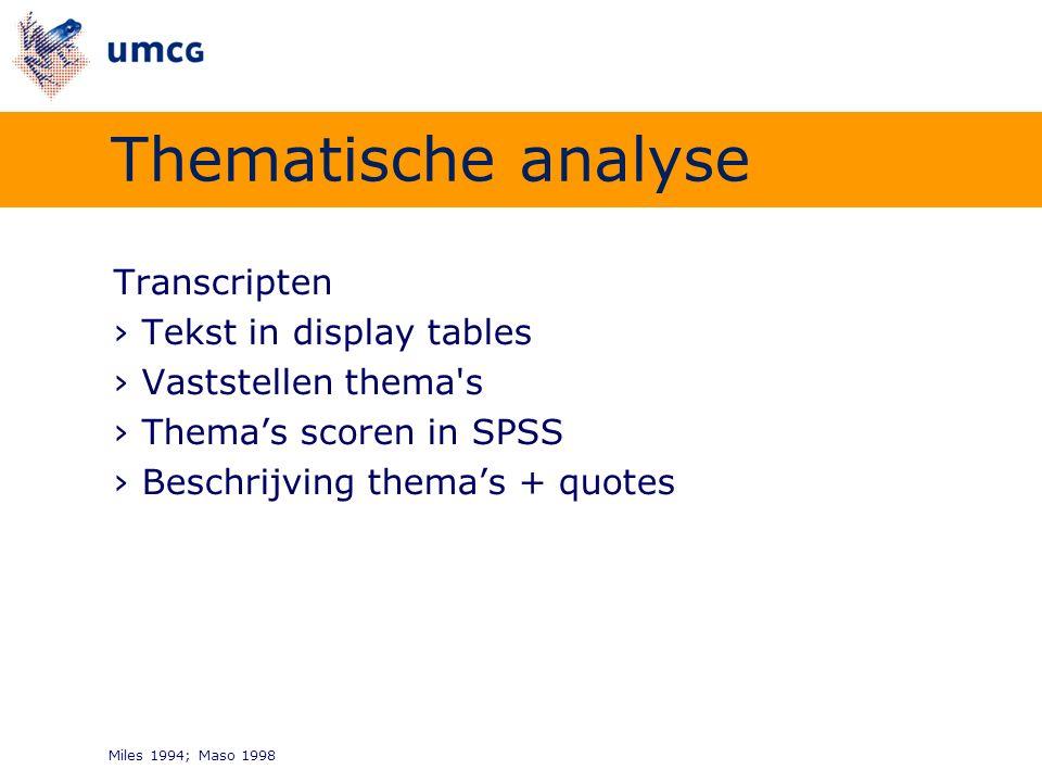 Transcripten ›Tekst in display tables ›Vaststellen thema's ›Thema's scoren in SPSS ›Beschrijving thema's + quotes Miles 1994; Maso 1998 Thematische an