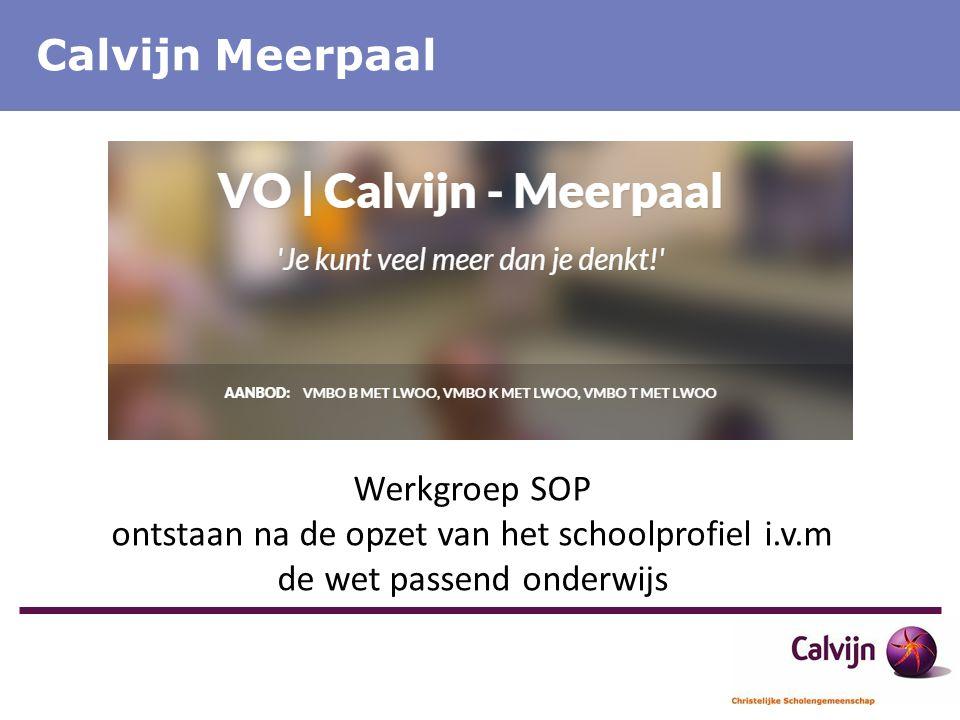 Calvijn Meerpaal Werkgroep SOP ontstaan na de opzet van het schoolprofiel i.v.m de wet passend onderwijs