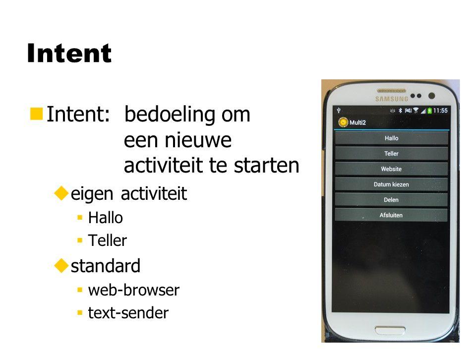 Intent nIntent: bedoeling om een nieuwe activiteit te starten ueigen activiteit §Hallo §Teller ustandard §web-browser §text-sender