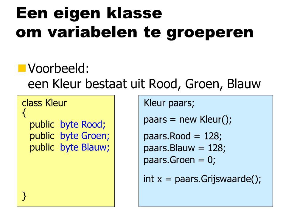 Een eigen klasse om variabelen te groeperen nVoorbeeld: een Kleur bestaat uit Rood, Groen, Blauw { class Kleur } byte Rood; byte Groen; byte Blauw; public Kleur paars; paars = new Kleur(); paars.Rood = 128; paars.Blauw = 128; paars.Groen = 0; int x = paars.Grijswaarde();