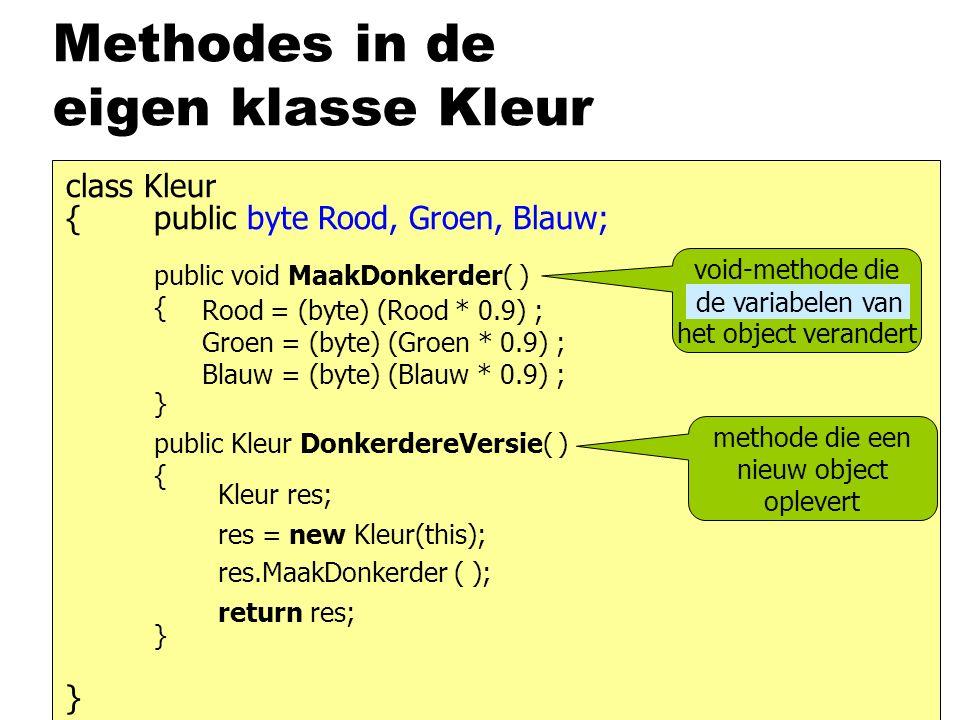Methodes in de eigen klasse Kleur { class Kleur } public byte Rood, Groen, Blauw; void-methode die het object verandert Rood = Rood * 0.9; Groen = Groen * 0.9; Blauw = Blauw * 0.9; Rood = (byte) (Rood * 0.9) ; Groen = (byte) (Groen * 0.9) ; Blauw = (byte) (Blauw * 0.9) ; de variabelen van public void MaakDonkerder( ) { } public Kleur DonkerdereVersie( ) { } Kleur res; return res; res = new Kleur(this); res.MaakDonkerder ( ); methode die een nieuw object oplevert