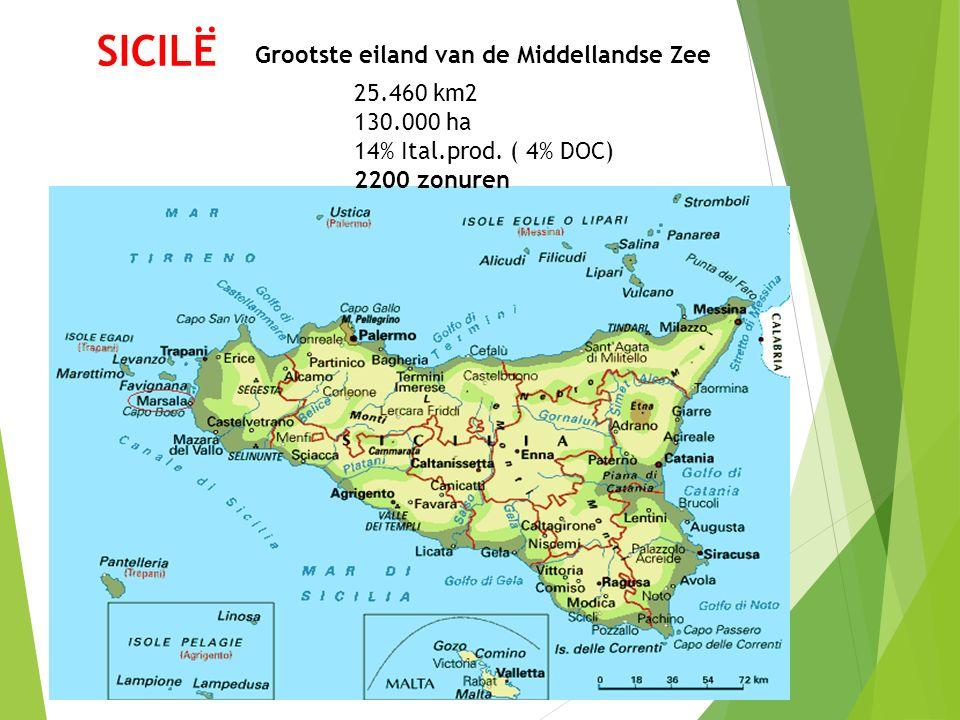 SICILË Grootste eiland van de Middellandse Zee 25.460 km2 130.000 ha 14% Ital.prod. ( 4% DOC) 2200 zonuren