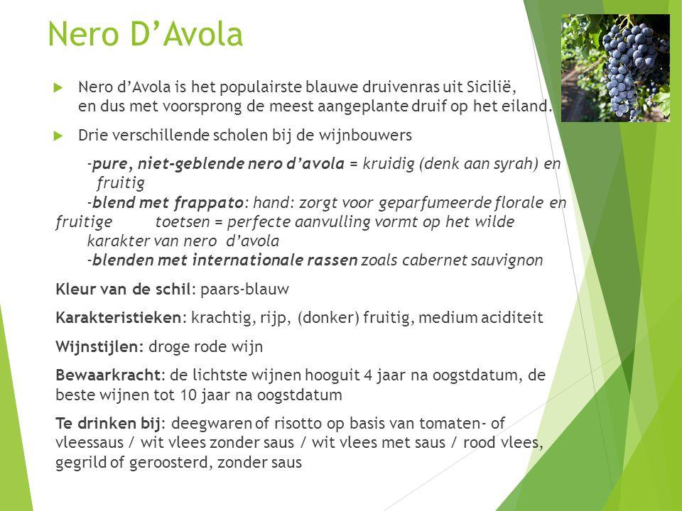 Nero D'Avola  Nero d'Avola is het populairste blauwe druivenras uit Sicilië, en dus met voorsprong de meest aangeplante druif op het eiland.  Drie v