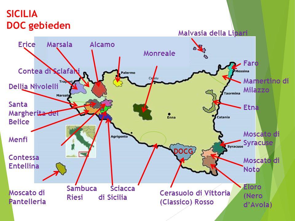SICILIA DOC gebieden Erice Marsala Alcamo Monreale Contea di Sclafani Malvasia della Lipari Dellia Nivolelli Santa Margherita del Belice Menfi Contess
