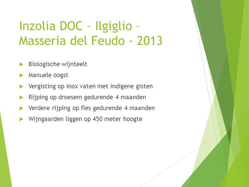 Inzolia DOC – Ilgiglio – Masseria del Feudo - 2013  Biologische wijnteelt  Manuele oogst  Vergisting op inox vaten met indigene gisten  Rijping op droesem gedurende 4 maanden  Verdere rijping op fles gedurende 4 maanden  Wijngaarden liggen op 450 meter hoogte