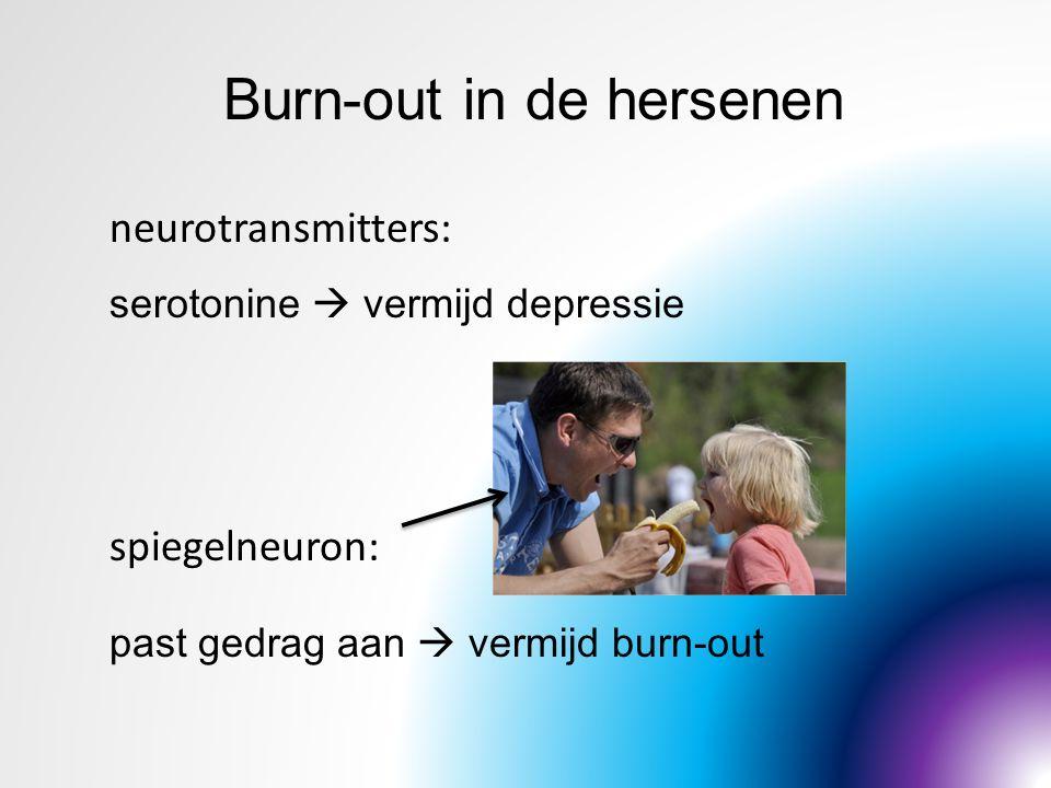 Burn-out in de hersenen neurotransmitters: serotonine  vermijd depressie spiegelneuron: past gedrag aan  vermijd burn-out