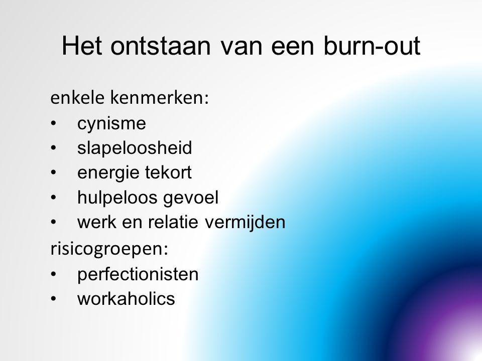 Het ontstaan van een burn-out enkele kenmerken: cynisme slapeloosheid energie tekort hulpeloos gevoel werk en relatie vermijden risicogroepen: perfect