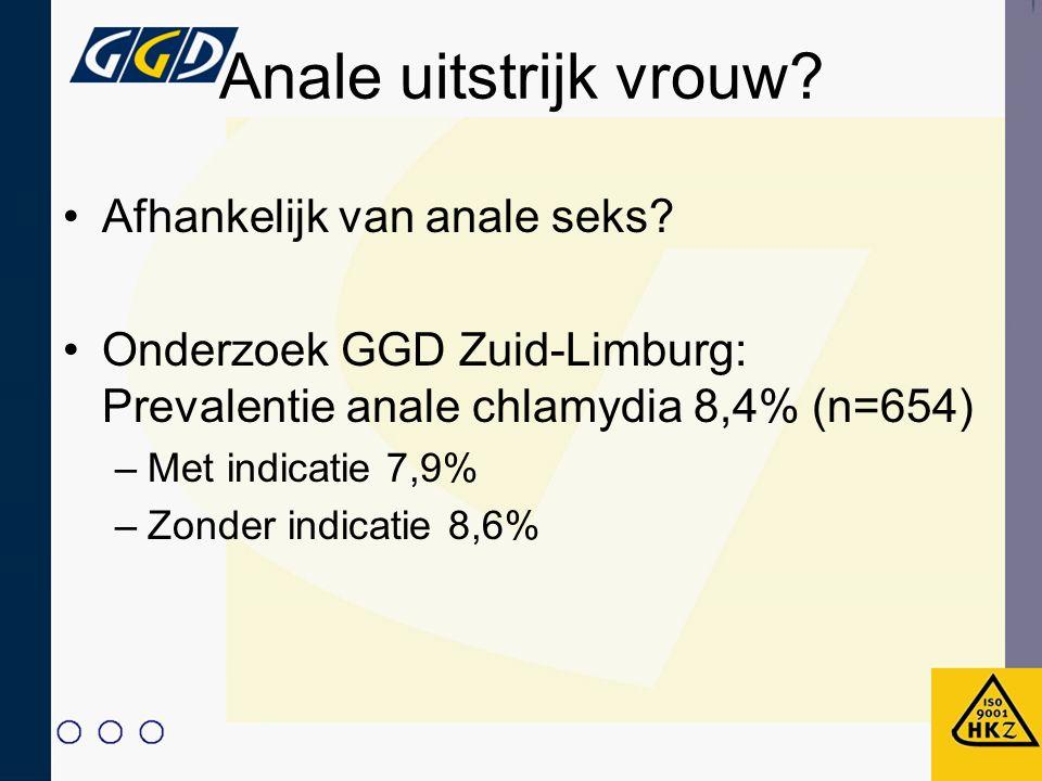Anale uitstrijk vrouw? Afhankelijk van anale seks? Onderzoek GGD Zuid-Limburg: Prevalentie anale chlamydia 8,4% (n=654) –Met indicatie 7,9% –Zonder in