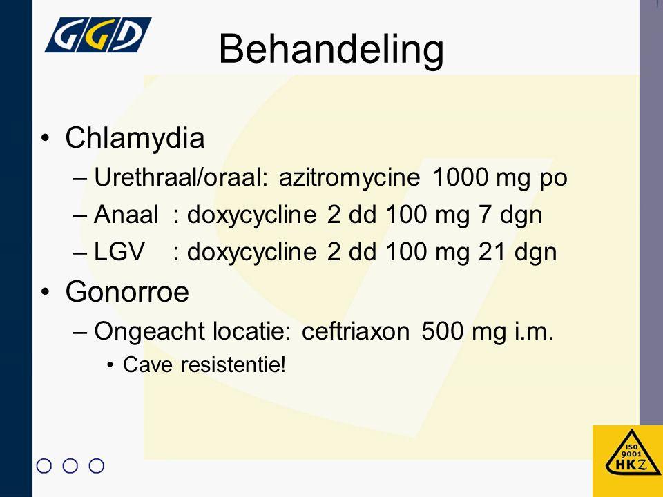 Behandeling Chlamydia –Urethraal/oraal: azitromycine 1000 mg po –Anaal: doxycycline 2 dd 100 mg 7 dgn –LGV: doxycycline 2 dd 100 mg 21 dgn Gonorroe –O
