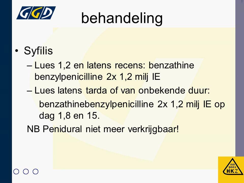 behandeling Syfilis –Lues 1,2 en latens recens: benzathine benzylpenicilline 2x 1,2 milj IE –Lues latens tarda of van onbekende duur: benzathinebenzyl