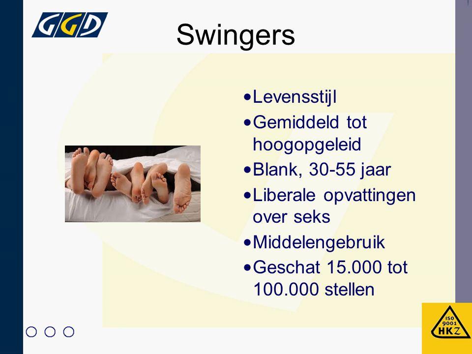 Swingers Levensstijl Gemiddeld tot hoogopgeleid Blank, 30-55 jaar Liberale opvattingen over seks Middelengebruik Geschat 15.000 tot 100.000 stellen