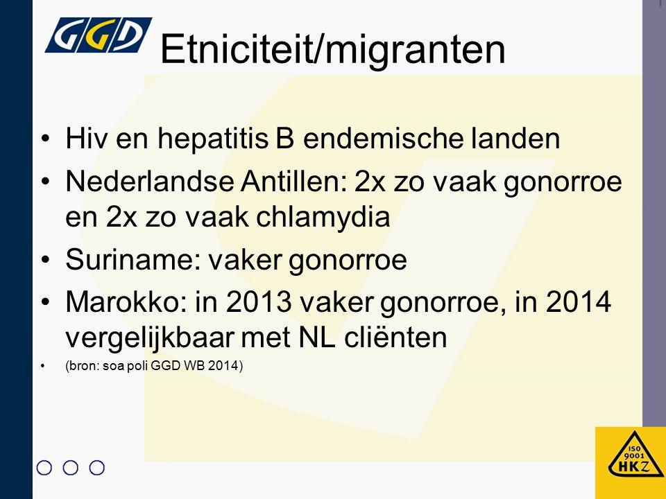 Etniciteit/migranten Hiv en hepatitis B endemische landen Nederlandse Antillen: 2x zo vaak gonorroe en 2x zo vaak chlamydia Suriname: vaker gonorroe M