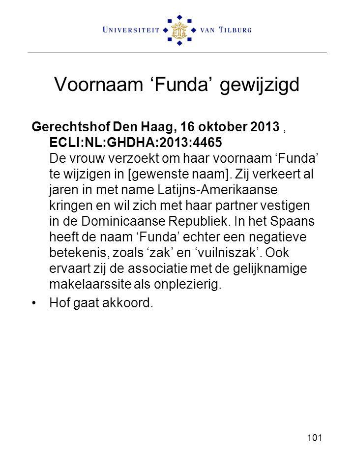 Voornaam 'Funda' gewijzigd Gerechtshof Den Haag, 16 oktober 2013, ECLI:NL:GHDHA:2013:4465 De vrouw verzoekt om haar voornaam 'Funda' te wijzigen in [gewenste naam].