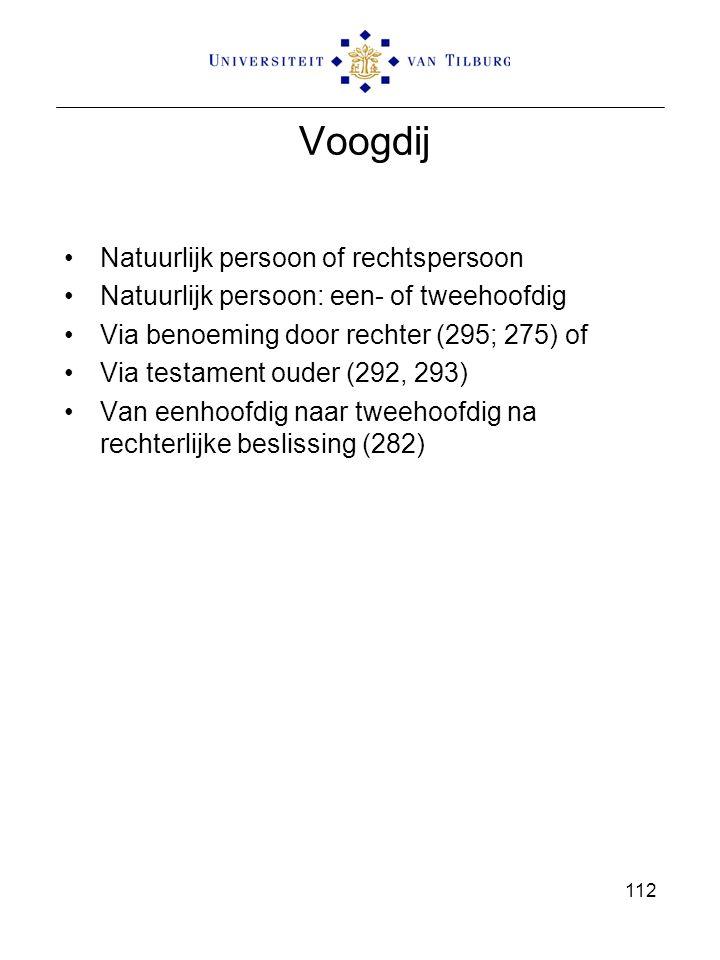 112 Voogdij Natuurlijk persoon of rechtspersoon Natuurlijk persoon: een- of tweehoofdig Via benoeming door rechter (295; 275) of Via testament ouder (