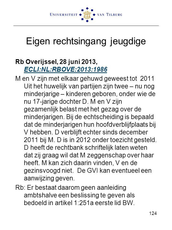 Eigen rechtsingang jeugdige Rb Overijssel, 28 juni 2013, ECLI:NL:RBOVE:2013:1986 ECLI:NL:RBOVE:2013:1986 M en V zijn met elkaar gehuwd geweest tot 201