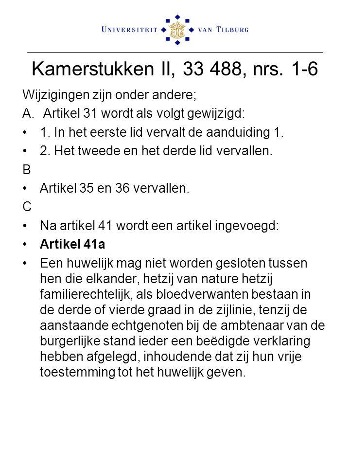 Kamerstukken II, 33 488, nrs. 1-6 Wijzigingen zijn onder andere; A. Artikel 31 wordt als volgt gewijzigd: 1. In het eerste lid vervalt de aanduiding 1