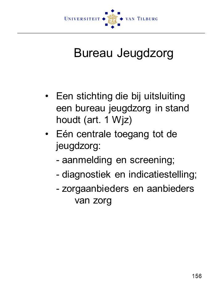 Bureau Jeugdzorg Een stichting die bij uitsluiting een bureau jeugdzorg in stand houdt (art. 1 Wjz) Eén centrale toegang tot de jeugdzorg: - aanmeldin