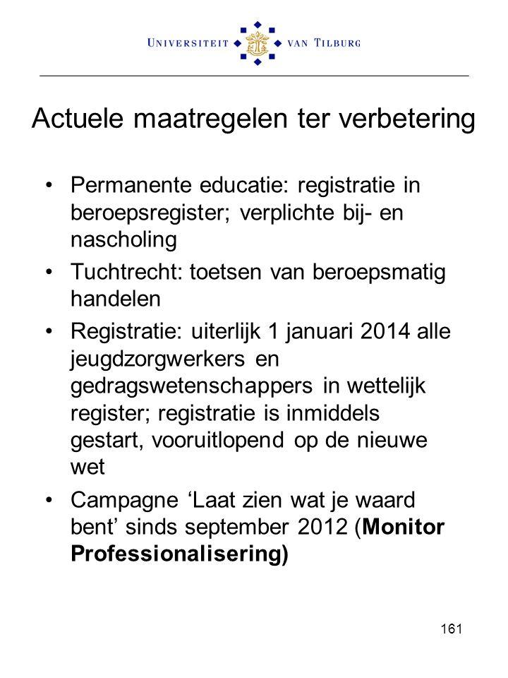 Actuele maatregelen ter verbetering Permanente educatie: registratie in beroepsregister; verplichte bij- en nascholing Tuchtrecht: toetsen van beroepsmatig handelen Registratie: uiterlijk 1 januari 2014 alle jeugdzorgwerkers en gedragswetenschappers in wettelijk register; registratie is inmiddels gestart, vooruitlopend op de nieuwe wet Campagne 'Laat zien wat je waard bent' sinds september 2012 (Monitor Professionalisering) 161