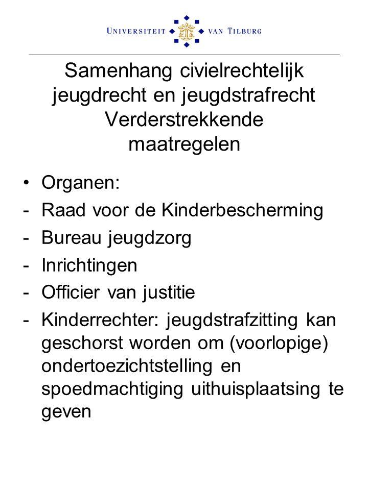 Samenhang civielrechtelijk jeugdrecht en jeugdstrafrecht Verderstrekkende maatregelen Organen: -Raad voor de Kinderbescherming -Bureau jeugdzorg -Inri