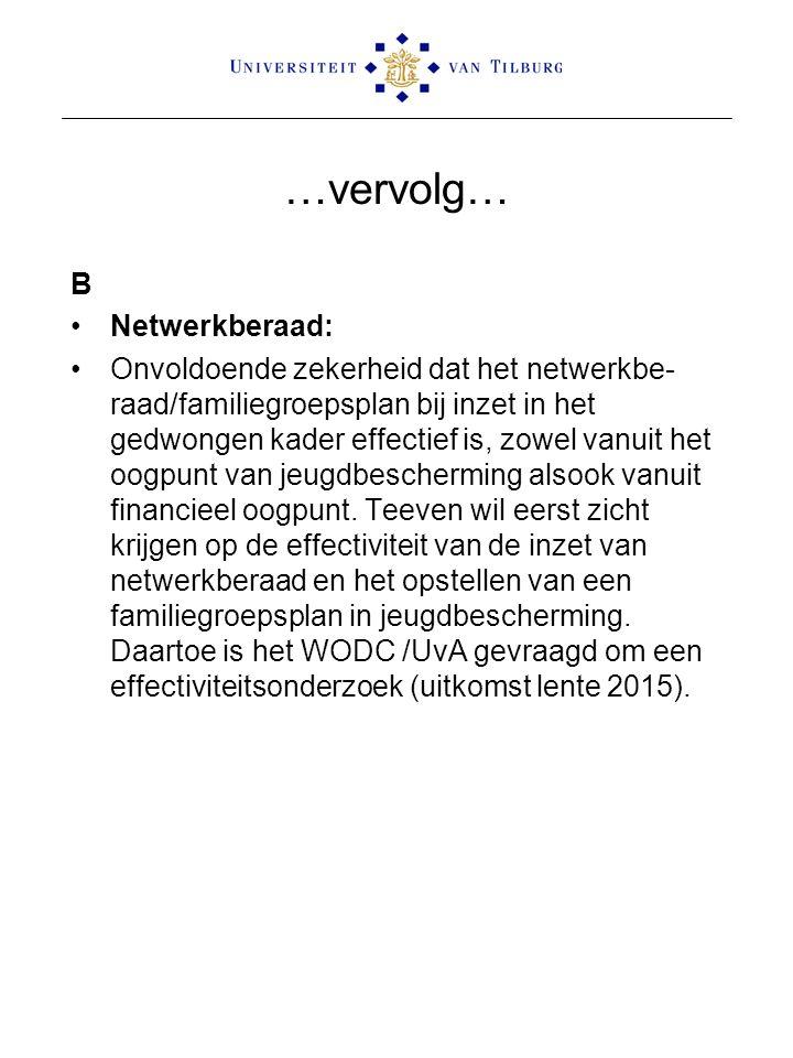 …vervolg… B Netwerkberaad: Onvoldoende zekerheid dat het netwerkbe- raad/familiegroepsplan bij inzet in het gedwongen kader effectief is, zowel vanuit het oogpunt van jeugdbescherming alsook vanuit financieel oogpunt.