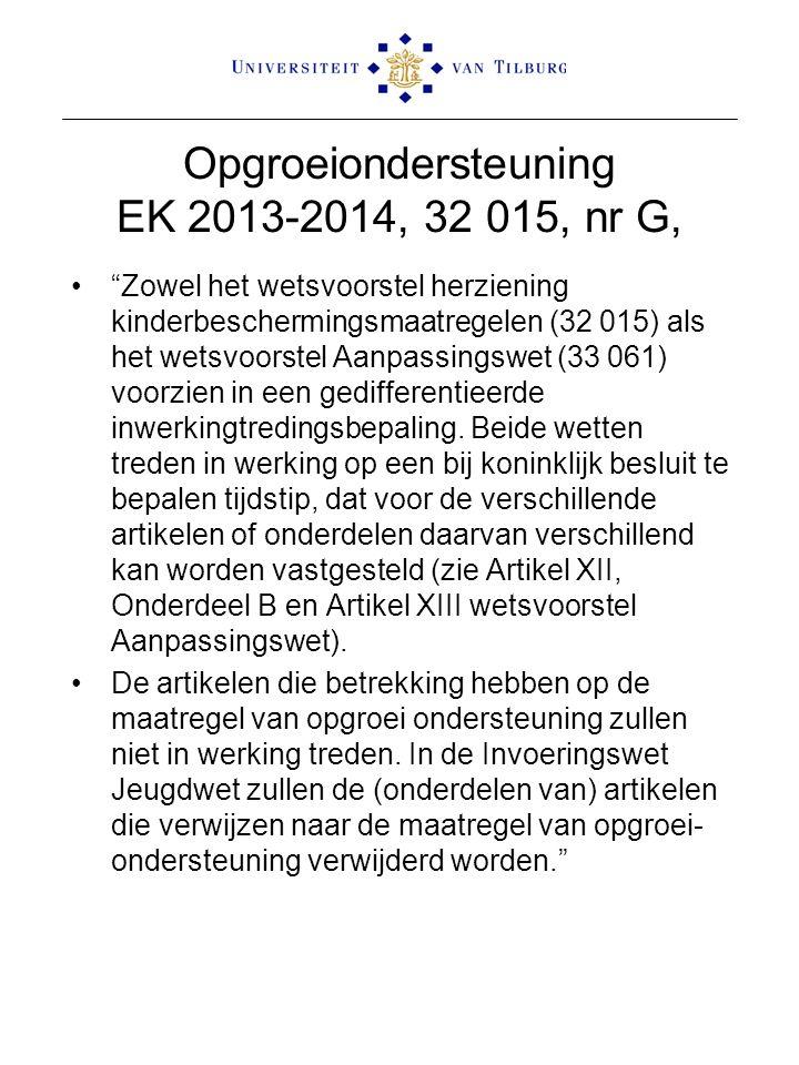 Opgroeiondersteuning EK 2013-2014, 32 015, nr G, Zowel het wetsvoorstel herziening kinderbeschermingsmaatregelen (32 015) als het wetsvoorstel Aanpassingswet (33 061) voorzien in een gedifferentieerde inwerkingtredingsbepaling.