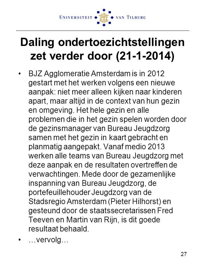 Daling ondertoezichtstellingen zet verder door (21-1-2014) BJZ Agglomeratie Amsterdam is in 2012 gestart met het werken volgens een nieuwe aanpak: niet meer alleen kijken naar kinderen apart, maar altijd in de context van hun gezin en omgeving.