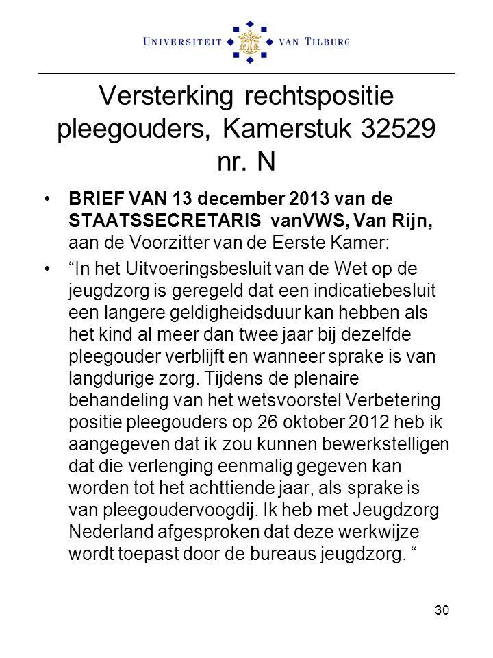 Versterking rechtspositie pleegouders, Kamerstuk 32529 nr. N BRIEF VAN 13 december 2013 van de STAATSSECRETARIS vanVWS, Van Rijn, aan de Voorzitter va