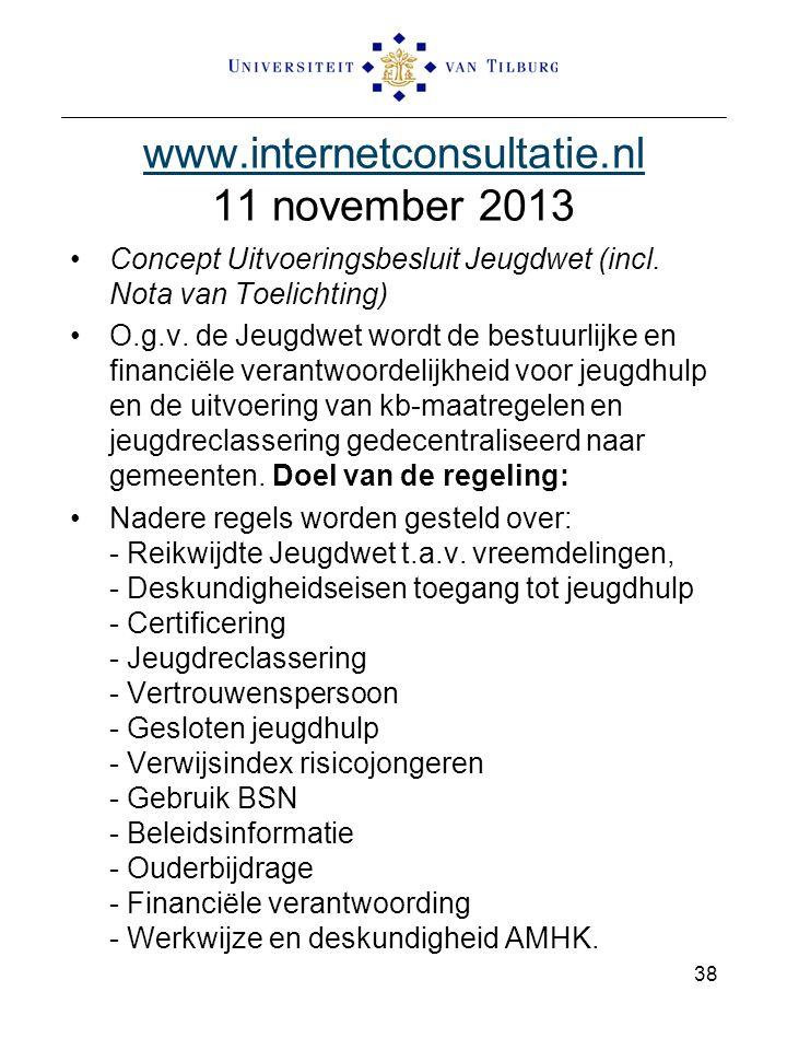 www.internetconsultatie.nl www.internetconsultatie.nl 11 november 2013 Concept Uitvoeringsbesluit Jeugdwet (incl. Nota van Toelichting) O.g.v. de Jeug